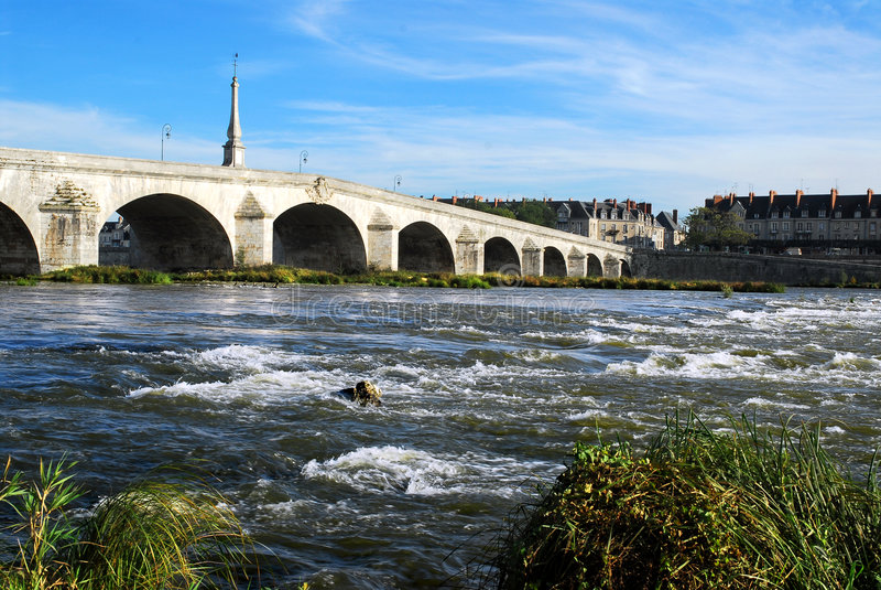 Bridge in Blois. Bridge over the Loire in Blois in France, loir et cher department stock image