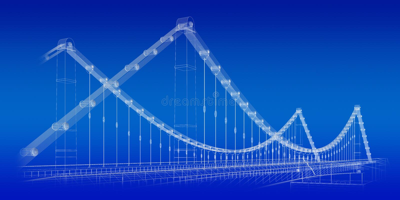 Bridge blueprint stock illustration