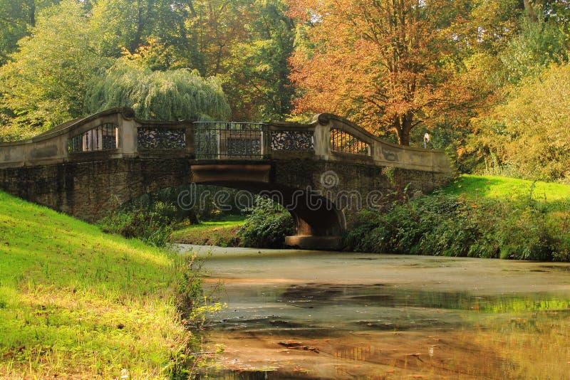 Bridge in Bremen Buergerpark. Stone bridge over a small river in Bremen in autumn royalty free stock image