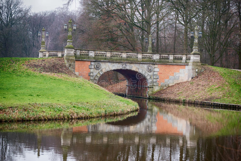 Bridge in bremen park. In winter time stock photos