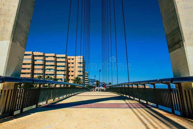 Bridge. Bridge over the river ¨Fuengirola¨ in Fuengirola. Malaga province, Andalusia, Spain. Picture taken – 15 may 2018 stock photography