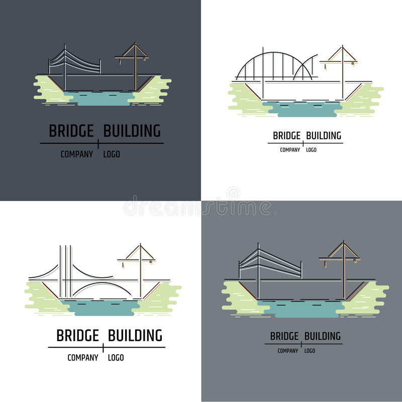 Free Bridge Building Company Logo. Line Art Style. Royalty Free Stock Image - 91736656