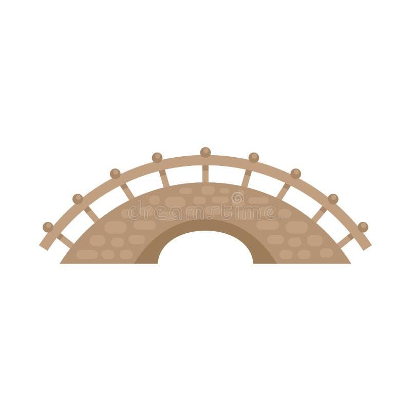 Bridge building icon, flat style. Bridge building icon. Flat illustration of bridge building vector icon for web design stock illustration