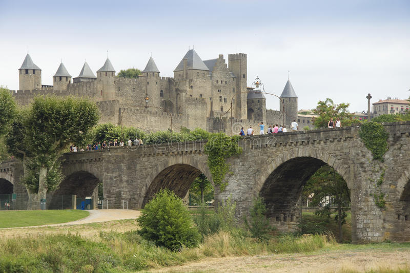 Download Bridge at Carcassonne stock image. Image of fortress - 26843029