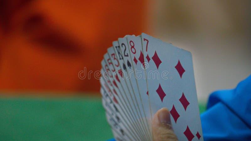 Bridge card game, during the Thailand National Games, Chiang Rai Games. Chiang Rai, Thailand - November 19, 2018 : Bridge, a four-player partnership trick stock image