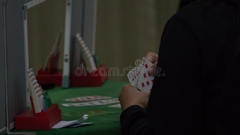 Bridge card game, during the Thailand National Games, Chiang Rai Games. Chiang Rai, Thailand - November 19, 2018 : Bridge, a four-player partnership trick stock photos