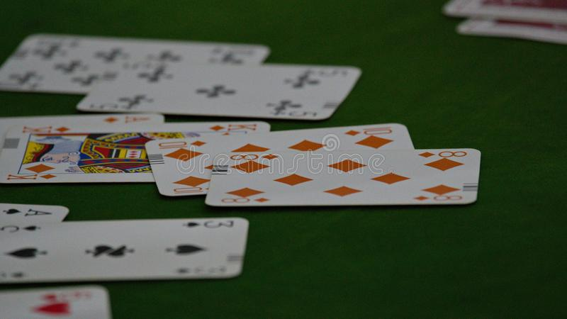 Bridge card game, during the Thailand National Games, Chiang Rai Games. Chiang Rai, Thailand - November 19, 2018 : Bridge, a four-player partnership trick stock images