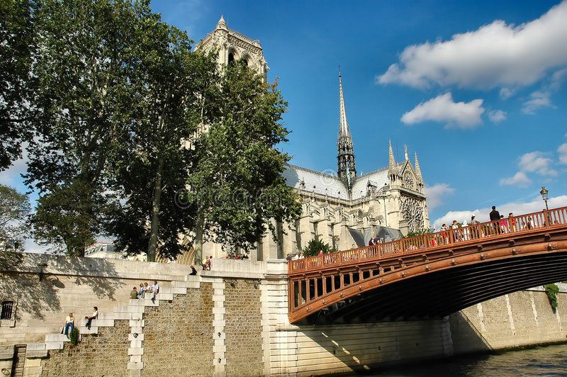 Download Bridge and Cathedral stock photo. Image of bridge, seine - 181866