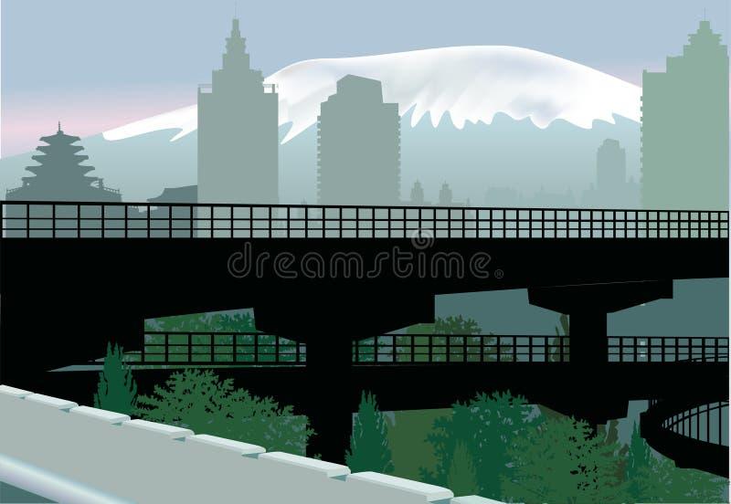 Download Bridge In City Near Mountain Stock Vector - Illustration: 20027305