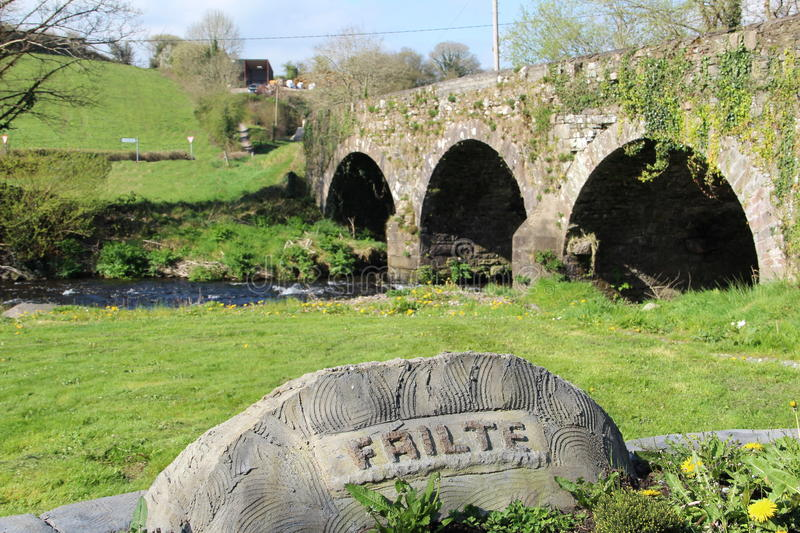 Bridge close to Millstreet in County Cork Ireland. Failte sign means Welcome in Irish language and this picture of a bridge close to Millstreet in County Cork stock photo