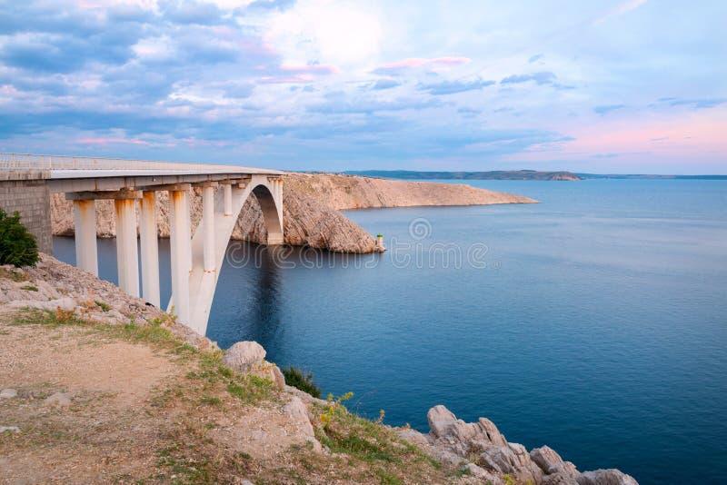 Pag island bridge. Bridge connecting mainland with Pag island at sunset, Dalmatia, Croatia stock photos