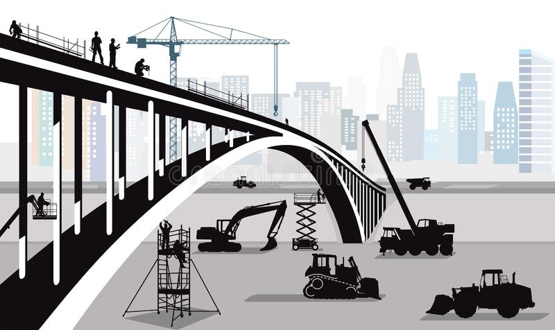 Bridge construction in the big city stock illustration