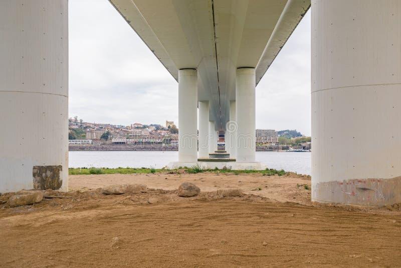 Bridge construction concrete support pillars columns seen from below low royalty free stock photos