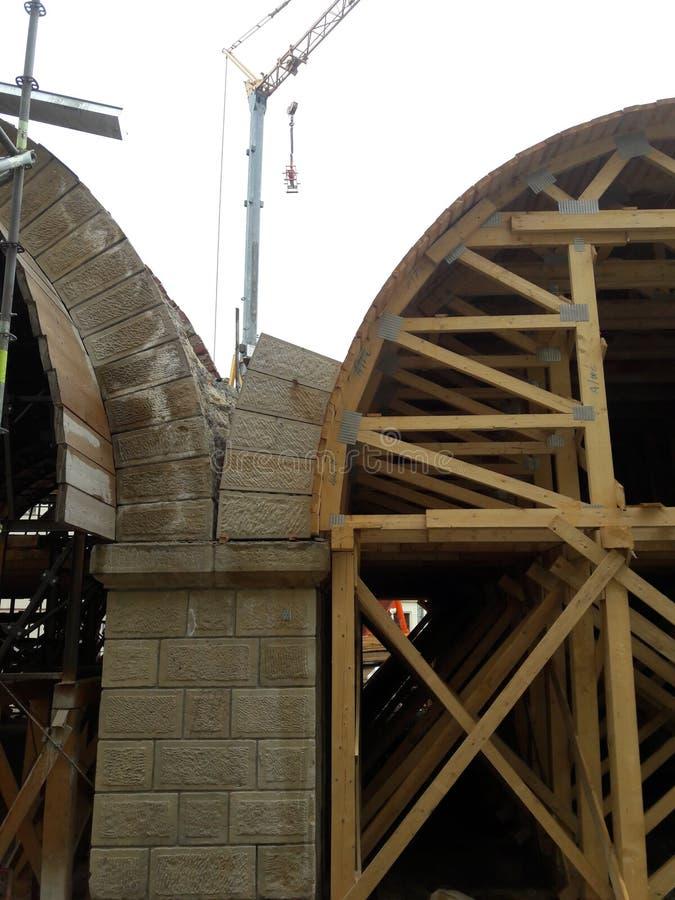 Bridge construction creating wooden vaults stock photos