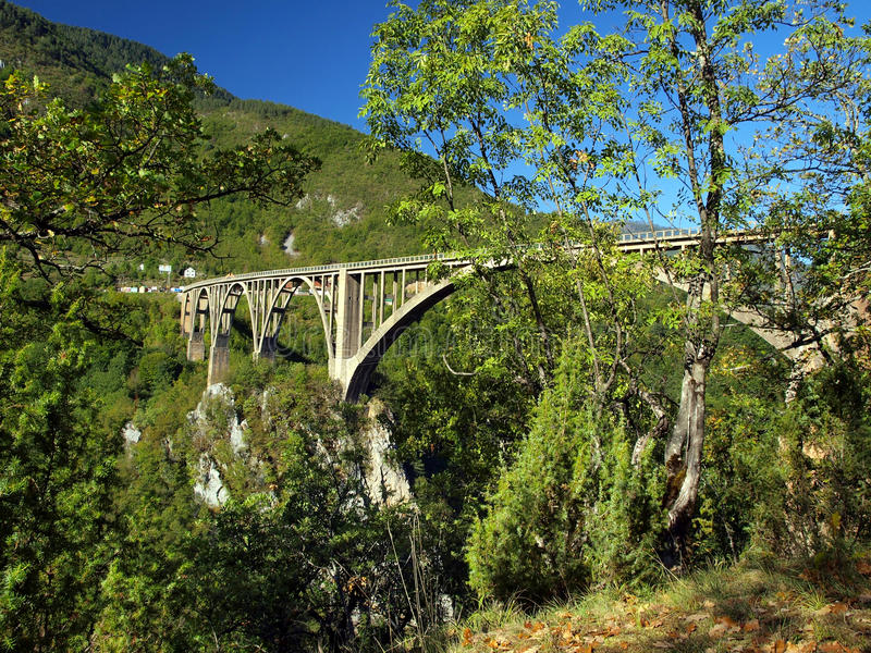 Bridge construction. Durdevica Tara arc bridge in the mountains, North of Montenegro. royalty free stock image