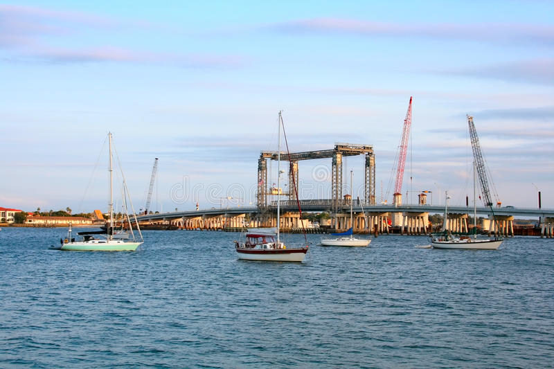 Bridge construction in St. Augustine, Florida royalty free stock photography