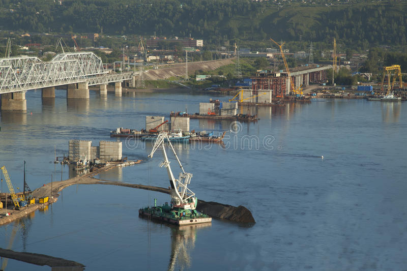 Download Bridge Construction Through Yenisei Stock Image - Image: 33261703