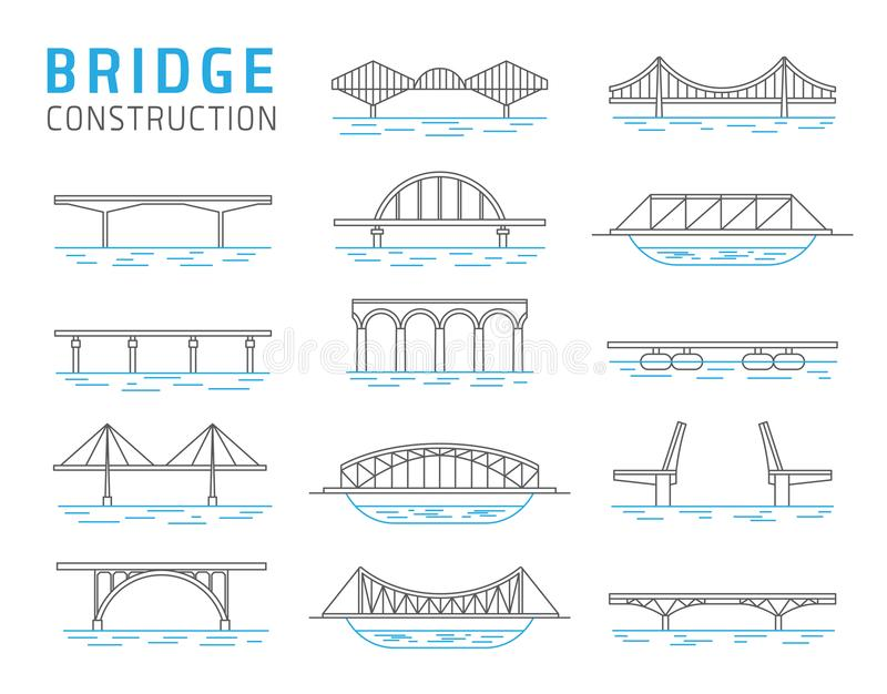 Bridge constructions vector set stock illustration