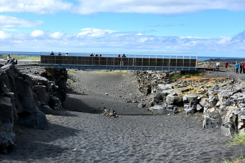 Bridge between continents. Located at Sandvik at Reykjanes peninsula Iceland, connects two continents, America to the west and Europe to the east .It lies stock image