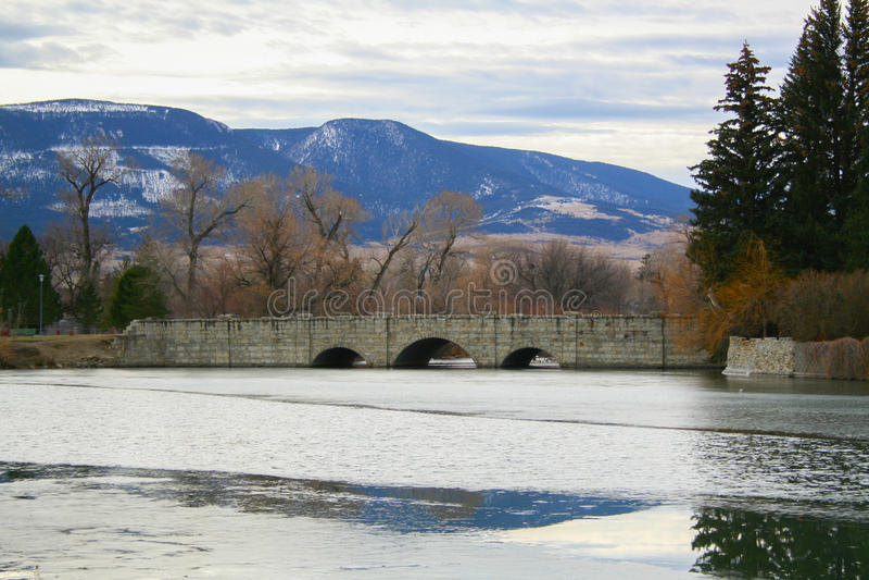 Bridge crossing over river. royalty free stock photos