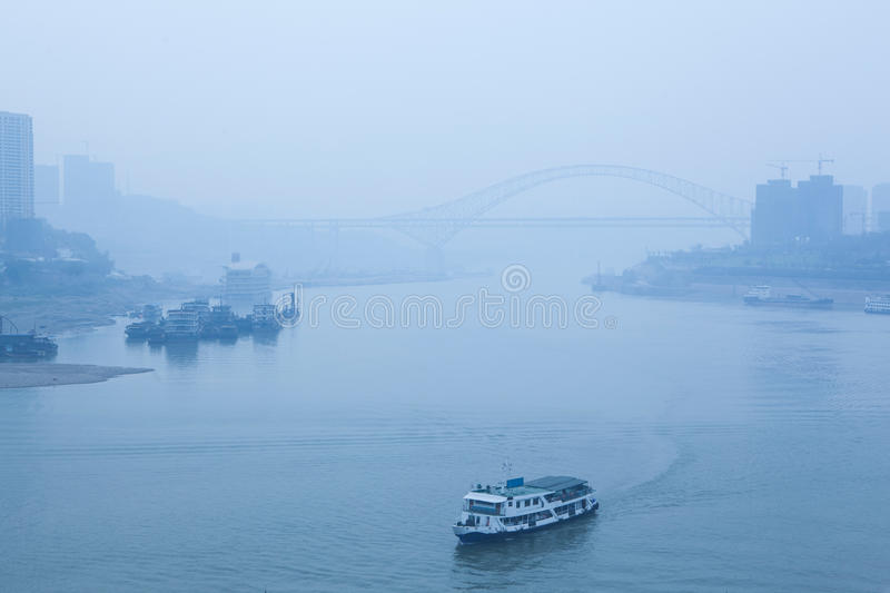 Download Bridge Crossing The River, Heavy Fog And Haze Stock Image - Image: 35710659
