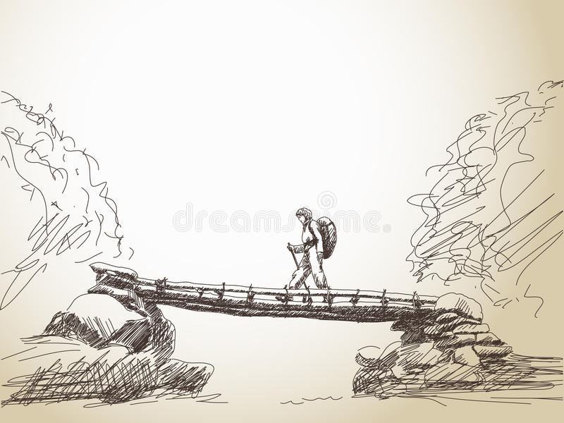 Bridge crossing river with trekking woman stock illustration
