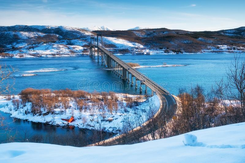 Bridge at the day time. Road and transport. Natural landscape in the Lofoten islands, Norway. Architecture and landscape stock photos