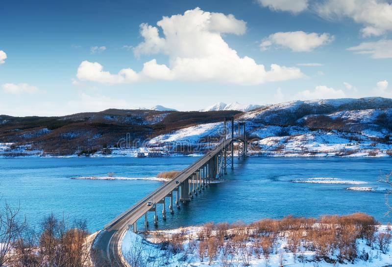 Bridge at the day time. Road and trasport. Natural landscape in the Lofoten islands, Norway. Architecture and landscape royalty free stock image