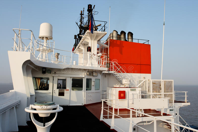 Bridge deck of a freighter ship at sea royalty free stock photography