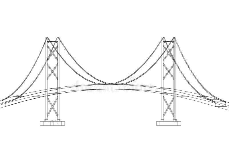 Bridge design - Architect Blueprint - isolated royalty free illustration