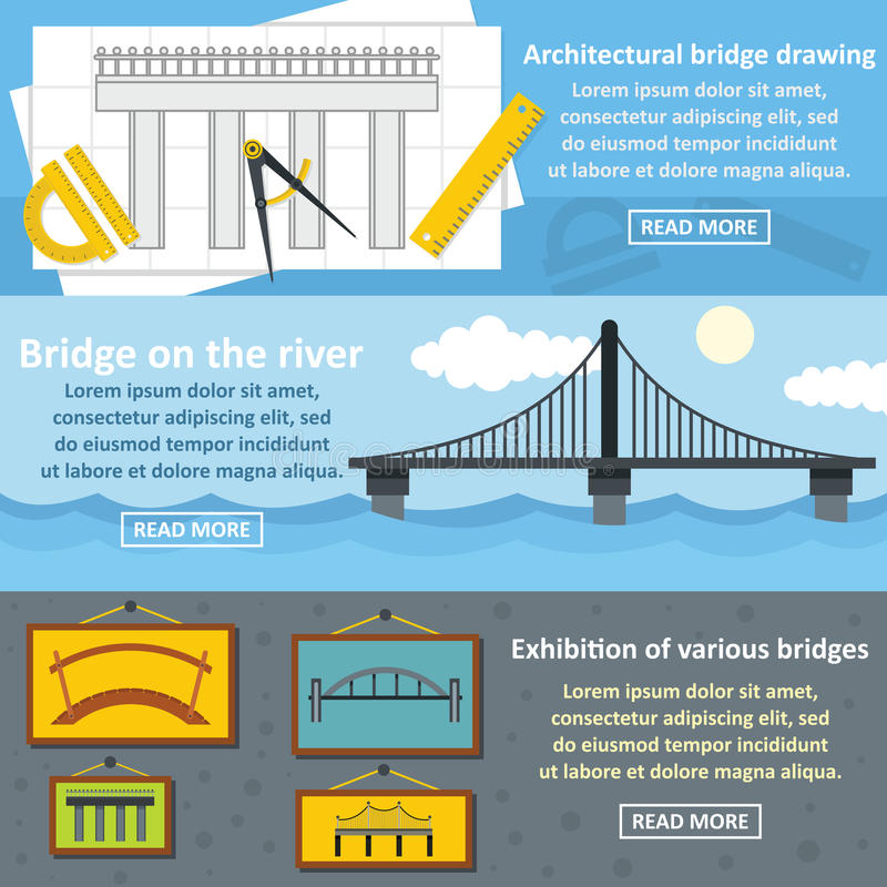 Bridge design banner horizontal set, flat style stock illustration