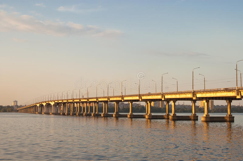 Bridge On Dnepr River Royalty Free Stock Photos