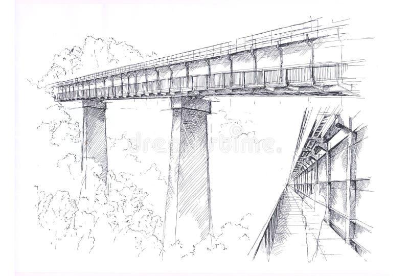 Bridge drawing royalty free illustration