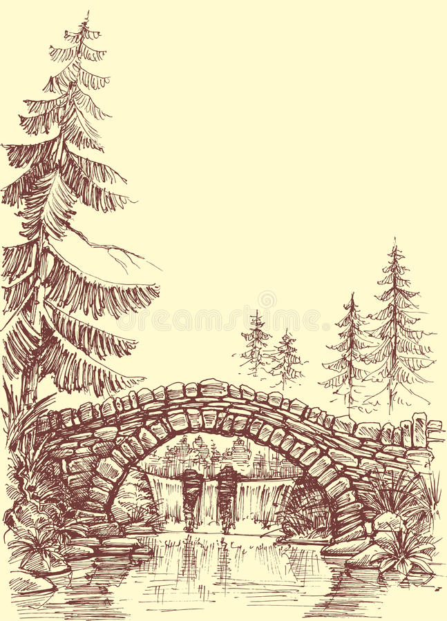 Bridge drawing royalty free illustration