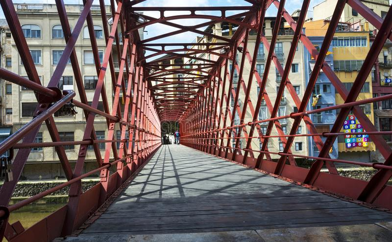 Bridge of the Eiffel engineer across the river Onyar Girona, Sp royalty free stock photo