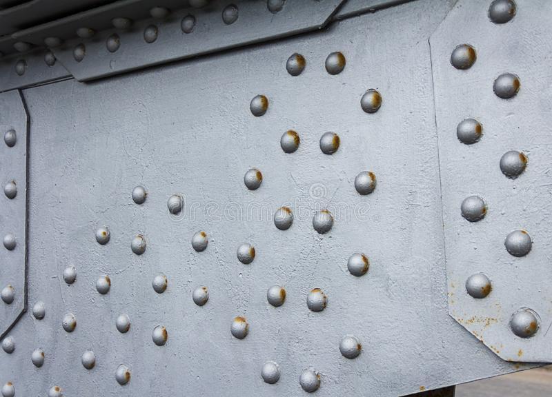 Bridge element metallic background, techno texture silver steel base. With rivets royalty free stock photos