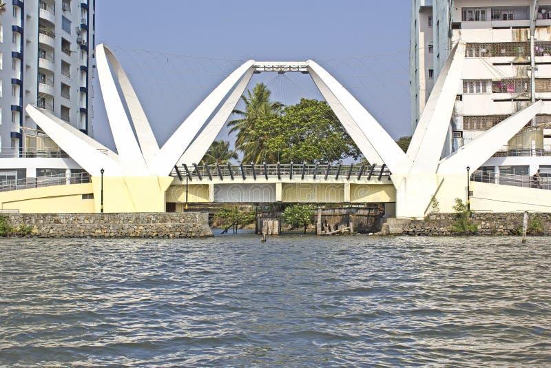 Bridge in Ernakulam. FEBRUARY 19, 2014, ERNAKULAM, KERALA, INDIA - Bridge at the Ernakulam embankment stock image