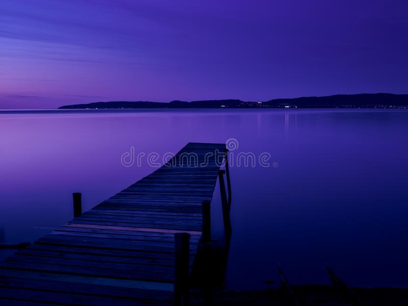 Bridge in the evening light. Bridge in blue evening light, Sweden stock photography
