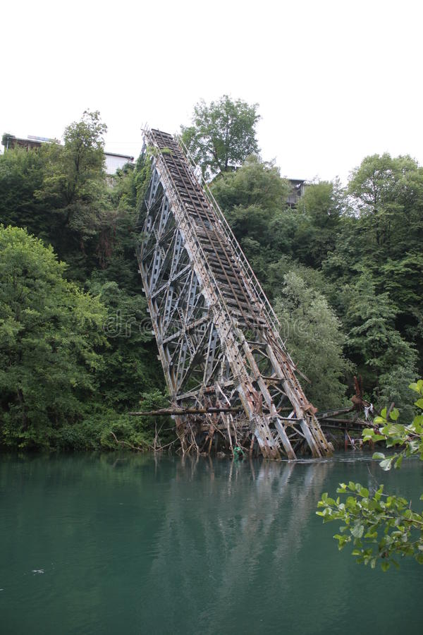 Bridge fell into the river. The famous railway bridge over the river neretva in bosnia herzegovina royalty free stock image