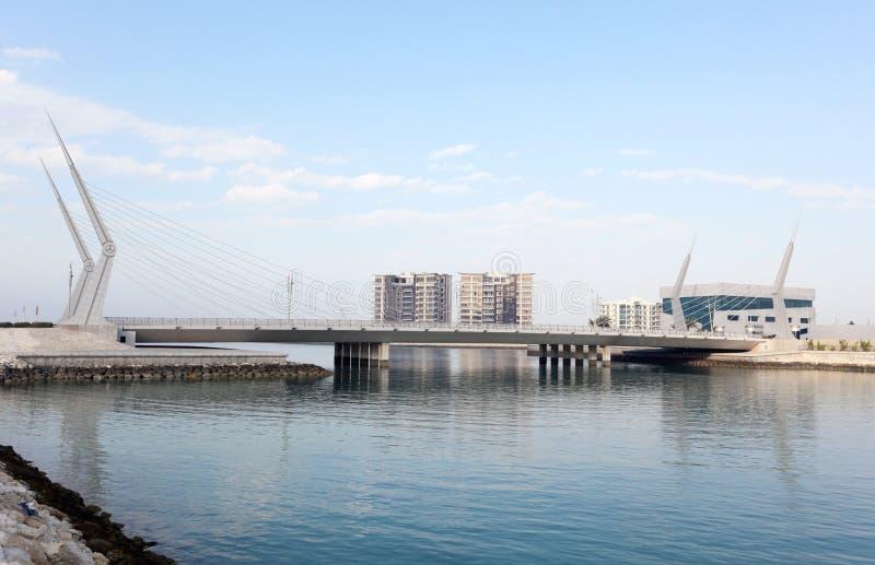 Bridge at financial harbour in Manama, Bahrain royalty free stock photos