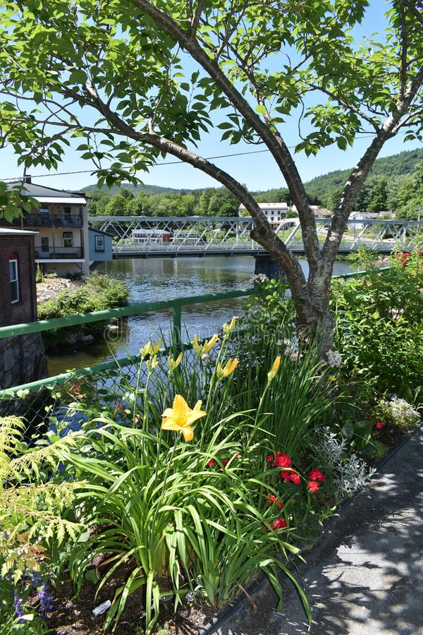 View from Bridge of Flowers, Shelburne Falls, Franklin County, Massacusetts, United States, USA. The Bridge of Flowers connects the towns of Shelburne and royalty free stock photography