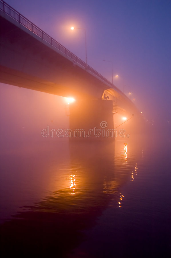 Download Bridge in the fog by night stock image. Image of famous - 3964875