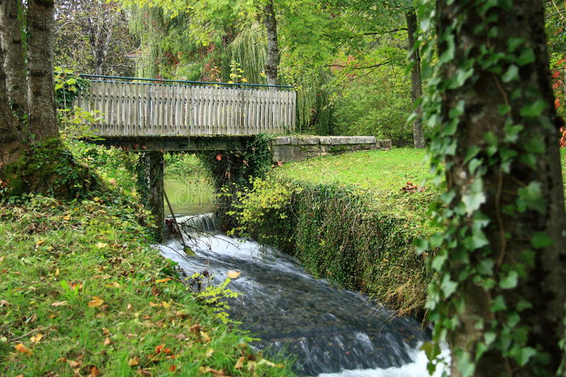 Bridge In Forest On Waterfall Royalty Free Stock Images