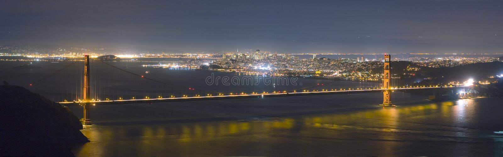 bridge francisco gate golden night panorama san skyline στοκ φωτογραφίες