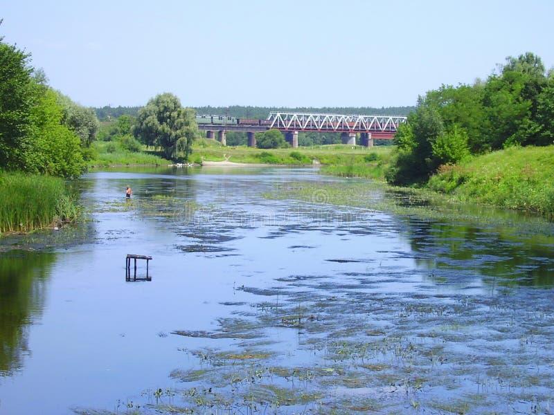 Ukraine, 2010, Shevchenko Korsun, river Ros. Bridge, freight train, freshmen, village, Karashina stock images