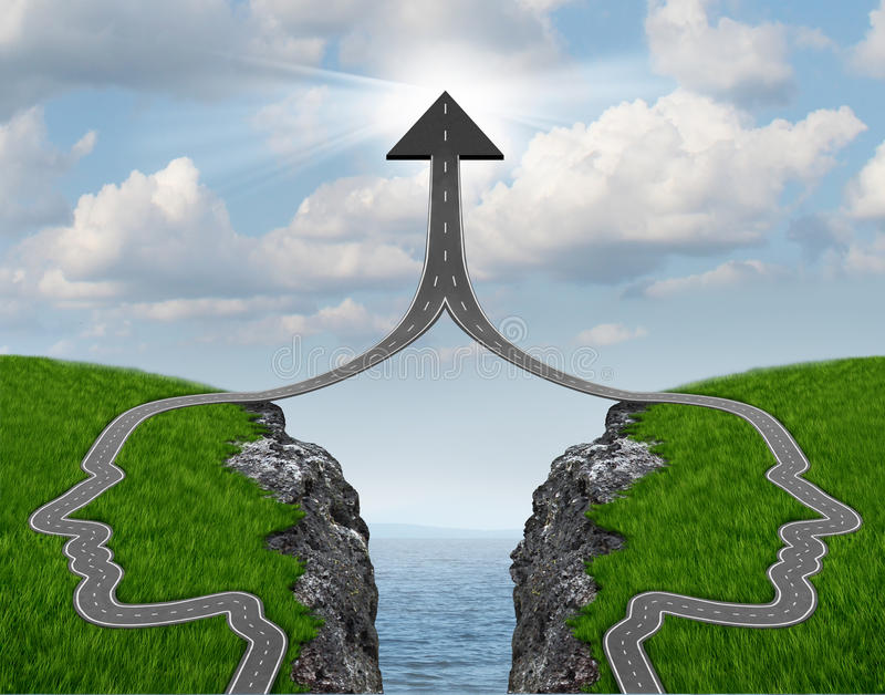 Bridge The Gap. And bridging the differences between two business partners over a financial cliff to merge together for team success as a strong partnership
