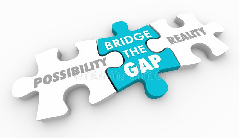 Bridge the Gap Between Possibility and Reality Puzzle Piece. 3d Illustration vector illustration