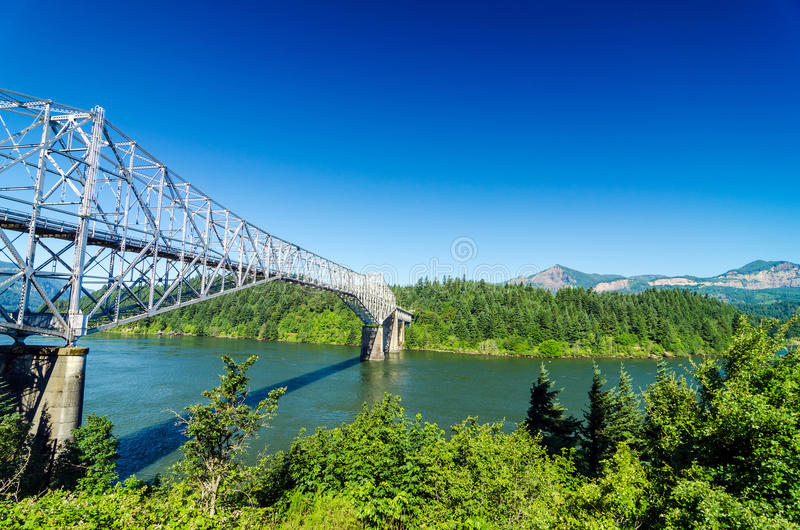 Bridge of the Gods. View of the Bridge of the Gods as seen from Oregon crossing the Columbia River into Washington royalty free stock image