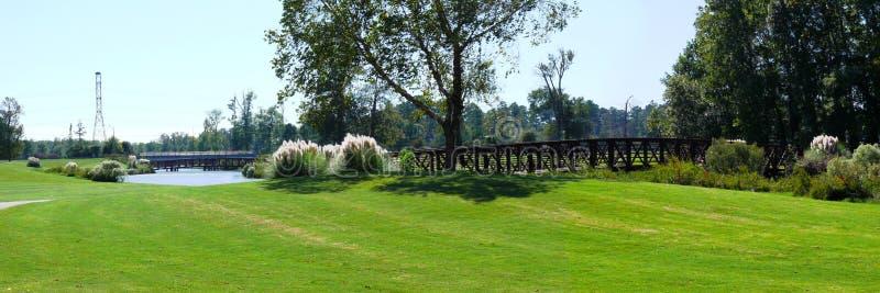 Bridge on golf course royalty free stock photo