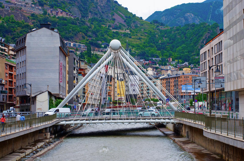 Bridge through Gran Valira river in Andorra la Vella royalty free stock image